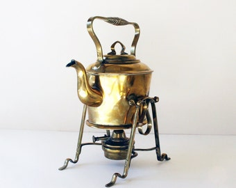 Tea Kettle Bavarian Brass Warmer Stand Germany