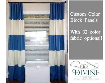 Custom color block Curtain Panels, Horizontal Stripe Curtains
