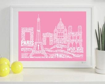 Paris Skyline Typography Print
