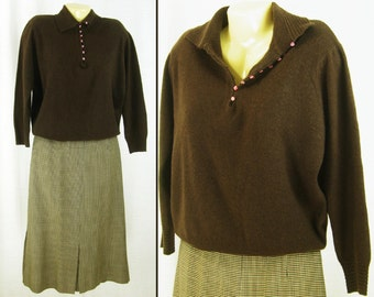 Vintage 50's – 60's  Brown Knit Sweater and Check Wool Skirt