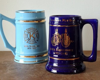Vintage Porcelain Fireman Steins, Blue, Collectibles, Anniversary, Firehouse, New Jersey