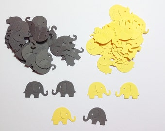 120 Yellow & Dark Gray Elephant Die Cut Cutout Punch Embellishment Scrapbook Confetti