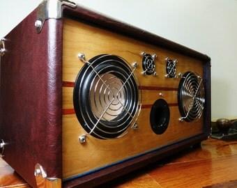 """Bluetooth Speaker Handmade Retro Vintage Wood """"V-50"""" Reference Series Hi-Fi, iPad, iPod, iPhone, Android."""