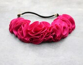 Flower crown in hot pink / Fuchsia flower headband for women / leather / wedding