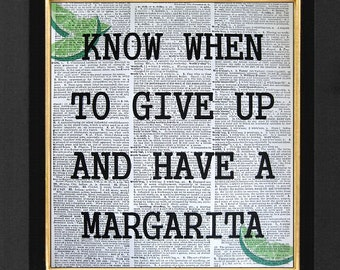 Margarita Time, Bar Art, Bar Decor, Mixed Media, Margarita Time print on 8x10 Vintage Dictionary Page Art Prints, Quote Art Office Humor