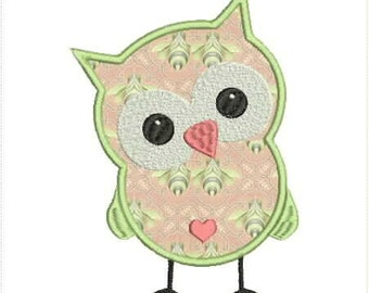 Cute Owl w/ Heart Applique Machine Embroidery Design 5x7 and 6x10 Hoop Bernina Viking Pfaff Babylock Janome and More