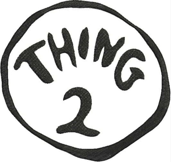 Fan image within thing 1 and thing 2 free printable template