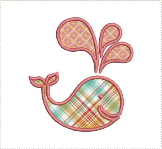 cute little whale applique machine embroidery design 4x4 & 5x7