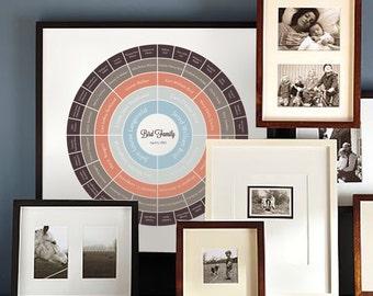 Custom Tree, Personalized, Ancestry Chart, 4 Generations, 5 Generations, Family Tree, Art Print, Poster, Digital Print, Gift - Fall Peach