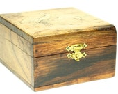 Handmade Hand-Carved Wooden Trinket Keepsake Jewelry Stash Box Carved Asian Cranes