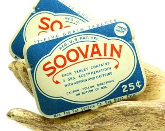Vintage Blue and White Soovain Drug Store Aspirin Pocket Size Tin