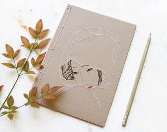 Geisha. Embroidered A5 Notebook. Geisha Journal. Ukiyo-e Journal. Ukiyo-e Notebook. Japanese Stab Binding. Zen Journal. Japanese Geisha