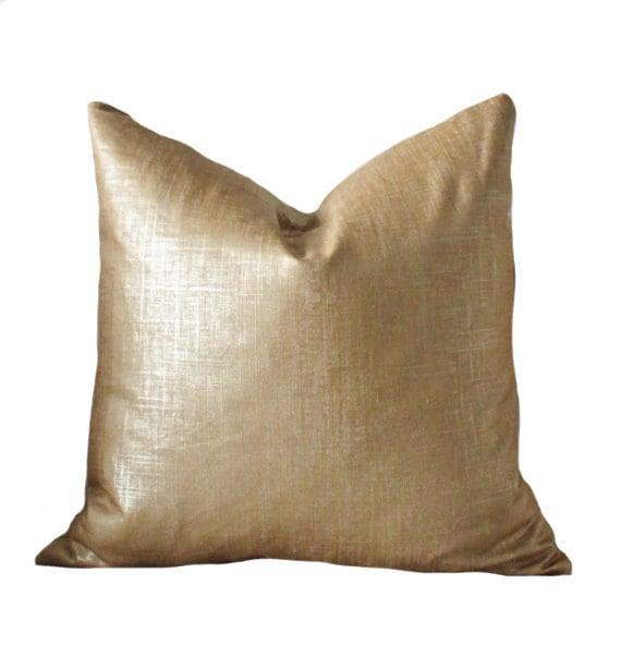 Bronze Gold Pillow Metallic Pillow Cover Throw Pillow Cover
