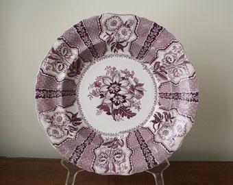 "Purple Staffordshire transfer ware bowl AMARYLLIS pattern Joseph Heath 9-1/4"" c. 1825-1841"