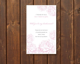 Will You Be My Bridesmaid, Postcard or Label, Beautiful Blush, Printable, Instant Download