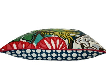 Chiang Mai Dragon Alabaster Pillow Cover with Indigo Blue Betwixt Backing and Red Piping