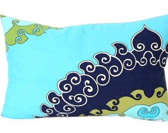 Green, Turquoise and Navy Trina Turk Super Paradise Print Outdoor Lumbar Pillow Cover