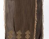 elibelinde/silk embroidered special design shawl.Chic and unique.kilim goddess figures on it...Handmade tasseled..