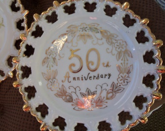 Antique  Gold trimmed 50th Anniversary Plates Set of 2 Nororest Fine China,Collector Plates,For  50th Party