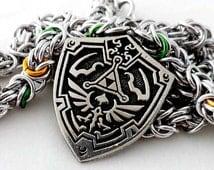 Pewter Hylian Shield Pendant - Byzantine Weave - Unisex