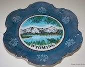 Vintage Wyoming Lusterware Travel Souvenir Collector Plate Grand Tetons Jackson Lake
