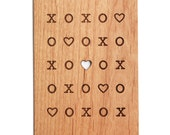 XOXO Heart Card - Real Wood Postcard, Anniversary Card, Love Card, XOXO