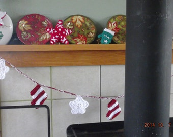 Christmas in booties and snowflakes!  Traditional garland in red and white.