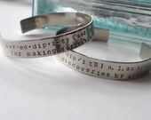 serendipity definition bracelet, hand-stamped, nickel silver bracelet, in stock and ready to ship