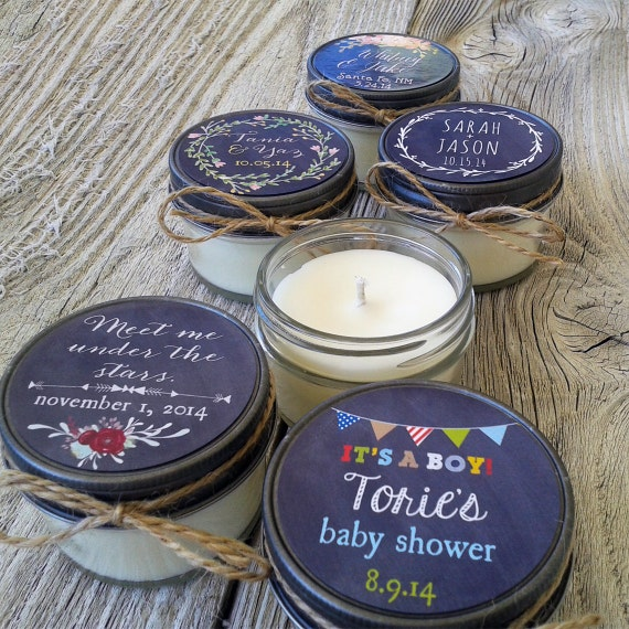 Set of 96 - 4oz - Custom Wedding Favor Candle, Bridal Shower, Baby Shower Favor, Chalkboard