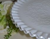 "FENTON Cake Plate Spanish Lace White Milk Glass Silver Crest 11"" Pedestal Cake Plate Stand Crimped Edge"