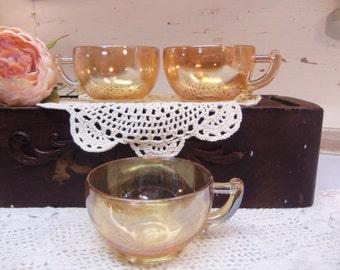 3 Vintage Amber Orange Luster Cups B1022