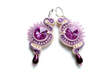 Earrings-siutache-Dangle-soutache earrings-OOAK-Light Ultra Violet