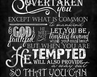 Scripture Art - I Corinthians 10:13 Chalkboard Style