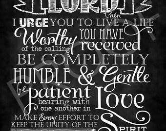 Scripture Art - Ephesians 4:1-3 Chalkboard Style