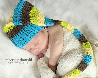 Striped blue. green. and brown Elf Hat