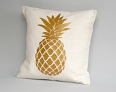 Metallic gold pillow cover - Gold pineapple pillow cover - Throw pillow cover - pillows -  pineapple cushion