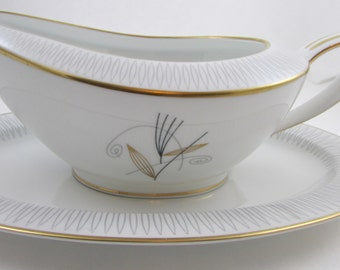 NORITAKE Clinton Fine China Gravy Bowl and  Under Plate  with Gold Trim