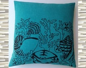 Vintage Mid-Century Harwood Steiger Fabric Pillow Silkscreened Aqua Teal and Black Sandollars and Shells