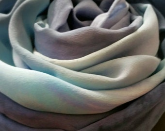 MADE TO ORDER Ombre soft Gray and Blue silk shawl,Scarves and wraps for women, gifts for her, handpainted by Michele Morgan