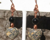 Spiderweb Jasper Heart Earrings with and Black Onyx