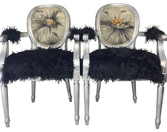 Pair of Silver French Dining Armchairs Painted and Upholstered in floral fabric and black mongolian fur