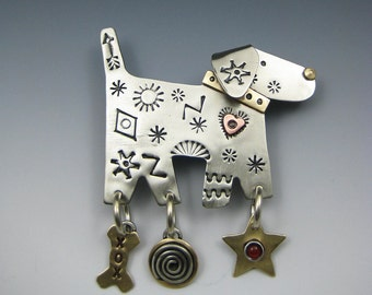 Dog Pin, Dog Jewelry, Dog Necklace, Doggy Pin, Doggy Jewelry, Whimsical Doggy Jewelry, Doggy Necklace, RP0488