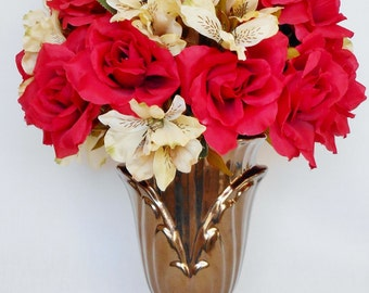 Artificial Flower Arrangement, Bright Red Roses & Cream Colored Alstroemeria, Bronze Colored Vase, Silk Floral,  Valentine's Day Flowers,