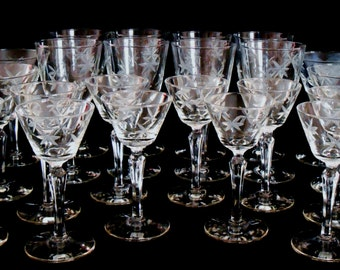 Antique 28 Piece Libbey Rock Sharpe Candlelight Stemware, Libbey Candlelight Stemware, Antique Libbey Etched Glass Candlelight Barware,