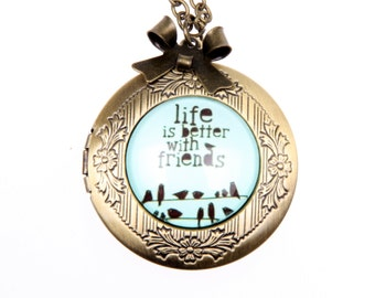 Necklace locket life is better with friends 2020M