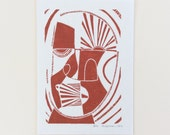 linocut - ELDER - 5x7 / printmaking / block print / geometric / mask / contemporary