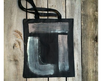 Black laptop bag, hand painted shopping tote, student's gift, shoulder bag