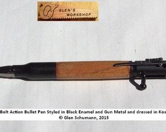 Bolt Action Bullet Pen Black Enamel Gun Metal Koa