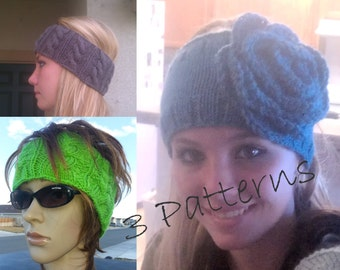 3 Patterns in One PDF Patterns Knitted Headband with Flower, Cabled Earwarmer and the Braided Headwrap