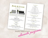 TEMPLATE Script Double Sided Silhouette Wedding Program, Custom Made With Your Party and Colors then you fill in your info and PRINT